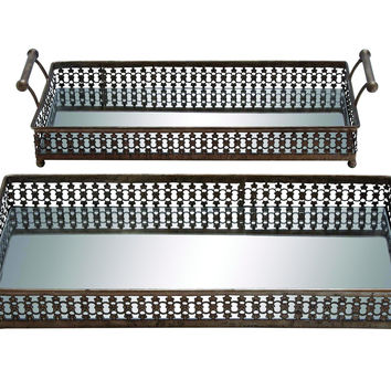 Metal Glass Tray With Polished Handles & Body (Set Of 2)