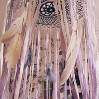 Queen Size Bed Canopy - Gypsy Bedroom Decor - Bohemian Bed Crown - Dreamcatcher Canopy - Navy and Lavender - Boho Bedding - Made to Order