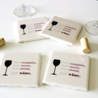 Wine coasters, gifts for wine lovers, gifts for wine drinkers, wine gifts, hostess gifts, housewarming gifts, gift for friend, gift for her