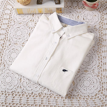 Elephant Embroidery Long-Sleeve Collared Shirt With Pocket