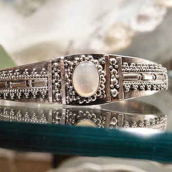 Vintage Moonstone Sterling Cuff Rainbow Moonstone Silver Cuff Bracelet Hand Crafted Made Artisan Intricate Bead Work East India Jewelry
