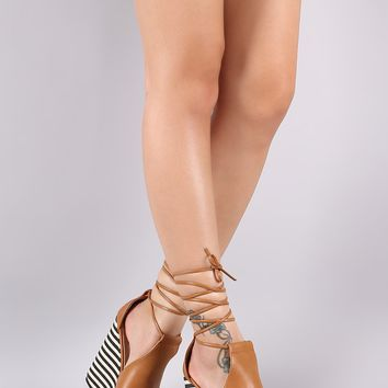 Peep Toe Lace-Up Striped Platform Wedge