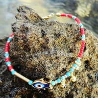 Evil Eye bracelet in Red fish evil eye gold plated swarovski girl birthday gift new year present christmas friendship