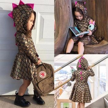 Girls Dress Dinosaur Mermaid Dress For Girls Grey Gold  Long Sleeve Dress Princess Wedding Dress Girl Kids Clothes Cute Design