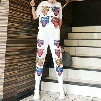 LMFONS Gucci' Women Casual Fashion Knit Tiger Head Pattern Middle Sleeve Trousers Set Two-Piece Sportswear