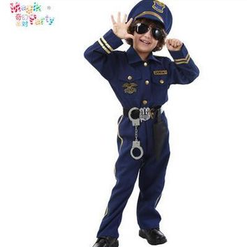 Halloween Party New Arrival Super Police Cosplay Costume For Kids Cute Children policeman  Boy Fancy suit