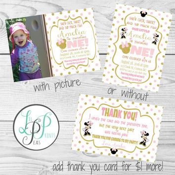 Pink and Gold 1st Birthday Invitation, Pink and Gold Glitter First Birthday, Mouse Birthday Invitation,Pink Gold Mouse Printable Invitation
