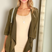 Suede Draping Cardigan Olive
