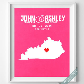 Wedding, Print, Kentucky, Customized, Anniversary, Couple, Personalized, Gift, Map, Custom, Wall Art, Home Decor, Marriage, Love [NO 16]