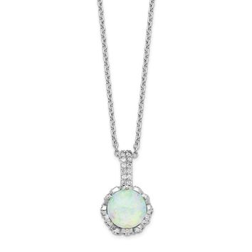Cheryl M Sterling Silver Cubic Zirconia and White Opal Necklace