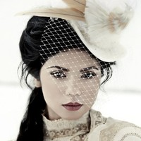 The Dorcas - Victorian Bridal Top Hat with Bird