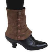Ladies Spats - Brown Suede