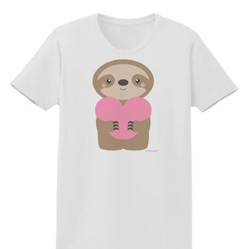 Cute Valentine Sloth Holding Heart Womens T-Shirt by TooLoud