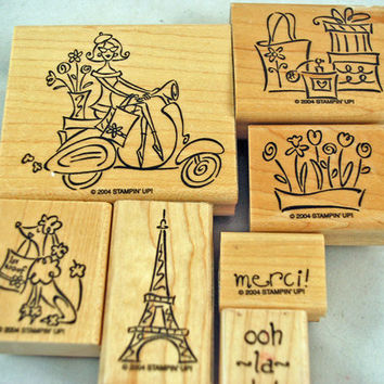 "STAMPIN UP Stamp Set  - Retired Hard to Find ""Paris in the Spring"" - 7  piece Rubber Stamp Set Scrapping Stamping Carmaking"