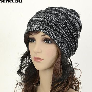 TOIVOTUKSIA Womens Fall Fashion Skull Hats Twist Pattern Beanies Winter Gorros Femal Winter Warm Hat Crochet Knitted Cap