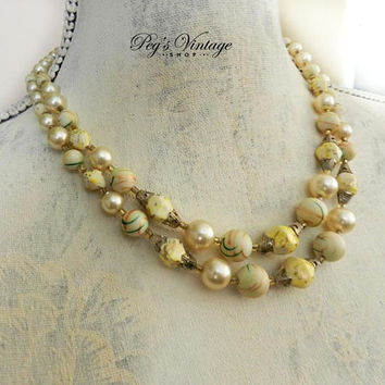 Vintage Pearl & Ivory Bead Multi Strand Necklace, Double Strand Necklace, 50's Cream Color Bead Choker Necklace