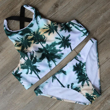Palm Tree Print Bikini Bandage Swimsuit Padded Bra Bathing Suit