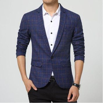 ONETOW new men singers Fashion plaid dress suit jacket brand clothing Men's casual suits Korean Slim small Western singers dress