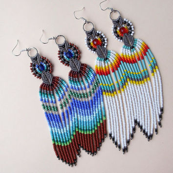 Long micro macrame earrings - Fringe Blue shades Green Brown Unique Bohemian Beadwork