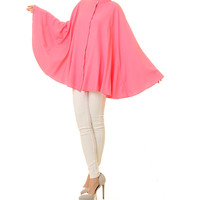 Rose Pink Kaftan Top Tunic / Poncho Blouse / Batwing Shirt / Long Sleeved Blouse / Plus Size Kaftan Blouse - One Size Fits All (8098)