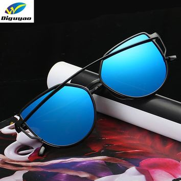 DIGUYAO NEW Cat Eye Aviator Sunglasses Women Vintage Fashion Plastic Frame Anti-Reflective Mirror Sun Glasses aviator Sunglasses