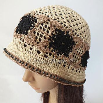 OOAK Irish Lace Boho Style Crochet Women Ladies Vintage Romantic Victorian Cloche Beanie Bandana Hat Beige Brown Black Wood Beads