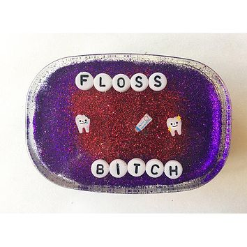 Floss Bitch Shower Art in Red and Purple Glitter