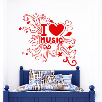 Wall Decal Music i Love Quotes Heart Stars Art Murals Design Wall Decals Bedroom Playroom School Notes Window Stickers Home Decor 3954