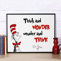 Canvas Poster Dr Seuss Quote Print, Think and wonder, Inspirational quote, Nursery Kids Room Home Decor, Frame Not included