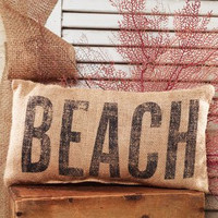 """""""BEACH"""" French Country Burlap Accent Pillow - Natural Burlap/Black - 6-in x 12-in"""
