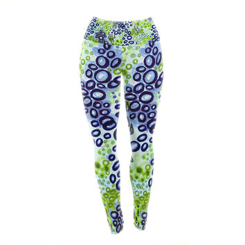 "Ebi Emporium ""Circular Persuasion Blue Green"" Aqua Turquoise Yoga Leggings"