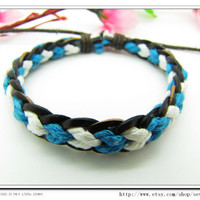 Real Leather and Rope Woven Bracelets Adjustable by sevenvsxiao