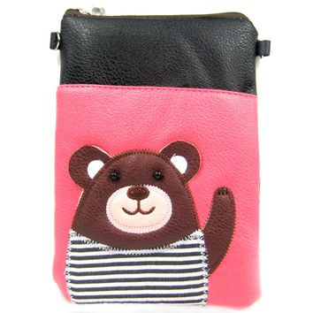 Adorable Teddy Bear Small Cross Body Shoulder Bag Purse in Black and Pink