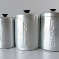 Vintage Aluminum Canister Set, Retro Italian Canister Set, Coffee Tea Sugar