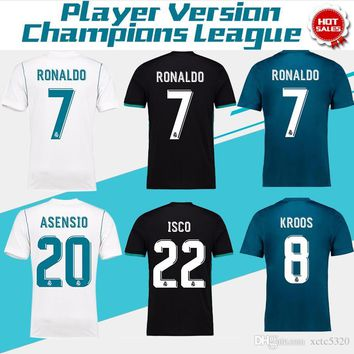 2018 Champions League Player Version Soccer Jersey 2017/18 Real Madrid Home Away 3rd Soccer Jerseys 17 18 Ronaldo ASENSIO Football Jeresy