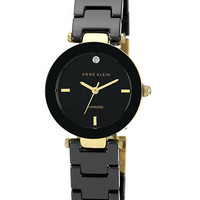Anne Klein Ladies Gold Tone and Black Watch with Diamond Accent