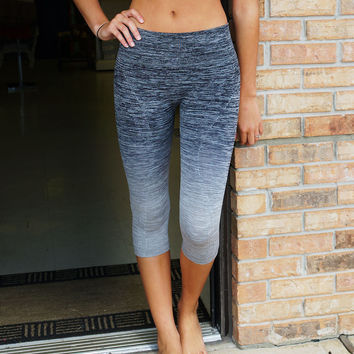 Ombre Capri Yoga Pants in Space Grey