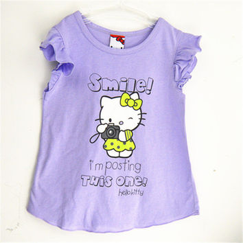 2016 kids girl clothes t-shirt whosale baby choses cotton kitty girl tops china cheap names top 100 children t shirts xst007 1ps