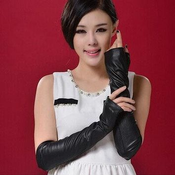 PU leather gloves female fashion semi-finger gloves flat panel thermal winter long leather gloves