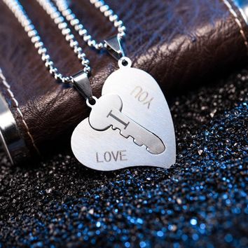 Pendant Jewelry Engraved I Love You Matching Hearts Key Couple Necklaces Set
