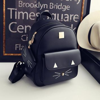 Korean Cute 3D Cats Women Backpack PU Leather Fashion Shoulder Bags School Bag Girls Students Rucksack Mochila with Small Purse