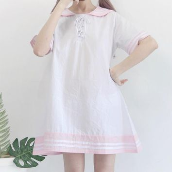 Harajuku style cute loose wild thin doll dresses summer Japanese kawaii soft sailor collar party dress White Mini Dress