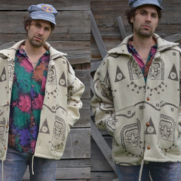 Vintage 70's Ethnic South American Mayan Indian Themed Wool Macknaw Jacket