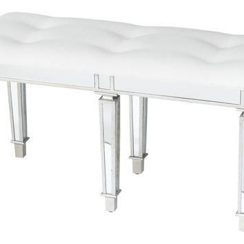 Six-Leg Mirrored Bench, Silver, Entryway Bench
