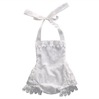 Toddler Infant Baby Girl White Romper Sleeveless Lace Romper Backless Belt Jumpsuit Sun-suit Outfits Clothing