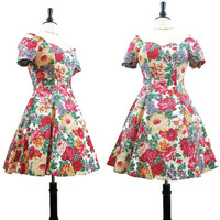 Vintage 80s 90s Dress Off-shoulder Floral Mini Party Day S