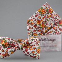 Floral Mens Bow Tie Pocket Square Matching Set Bow Tie for Men Handkerchief Orange Bow Tie Linen Pocket Square Boho Wedding Boho Bow Tie