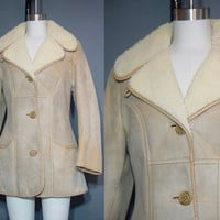 Vintage 70s Sheepskin Coat 1970s Shearling Tan Beige Rancher Western Coat XS S