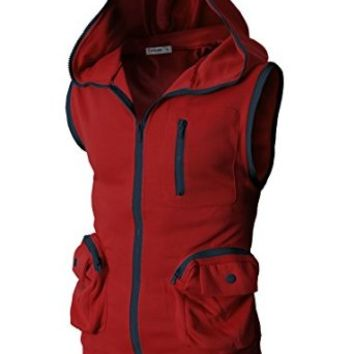 H2h Men's Active Sleeveless Hoodie Zip-up Vest