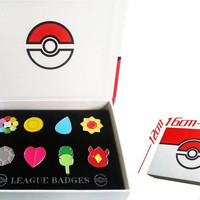 8pcs Pocket Monster Pokemon Kanto 8 Metal League Gym Badge Pin Pip Gen Red Cosplay Prop Collection Set Box Gift For Kids Adult